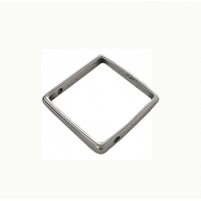 Perle en métal carré 27mm argent x1