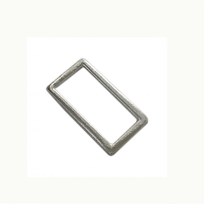 Perle en métal rectangulaire argent 36mm x1
