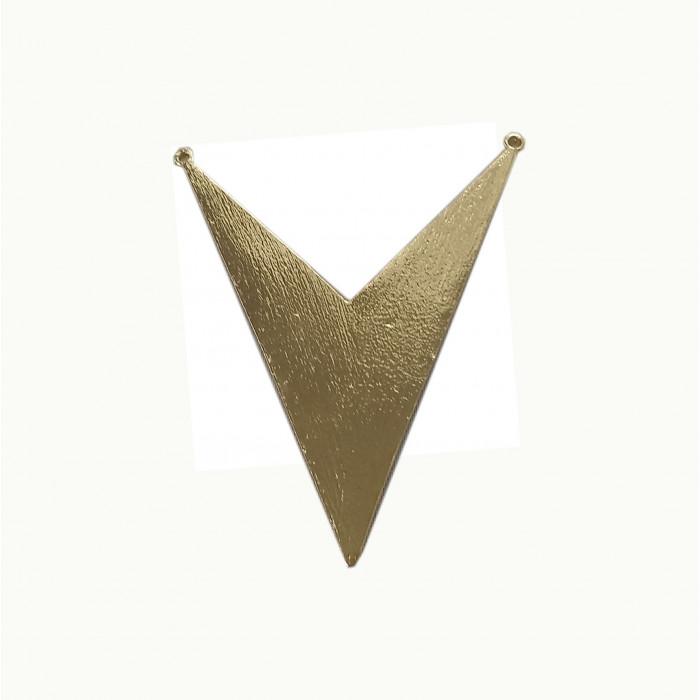 Perle en métal avec motif V 85mm doré x1