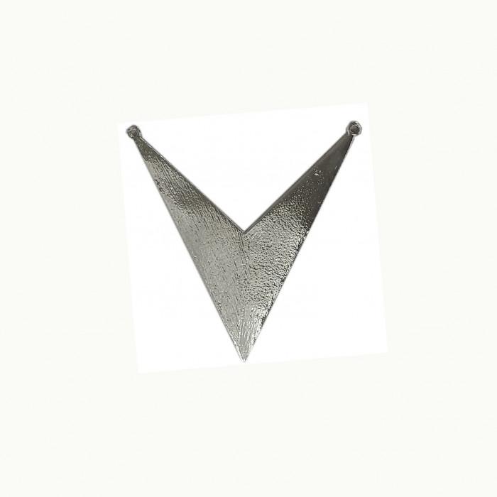 Perle en métal avec motif V 85mm argent x1