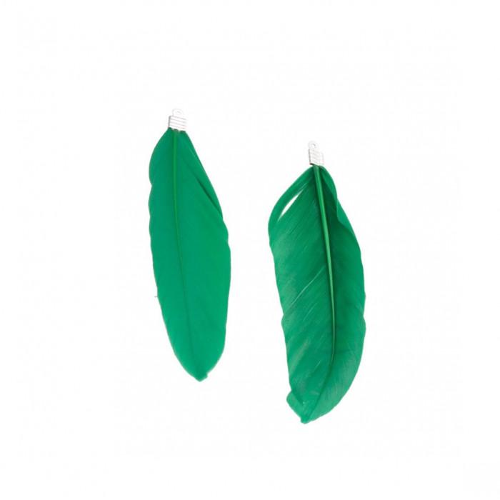Pendentif plume environ 80mm/40mm vert foncé x1