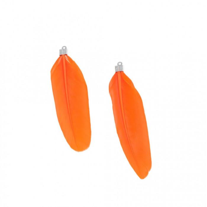 Pendentif plume environ 80mm/40mm orange x1