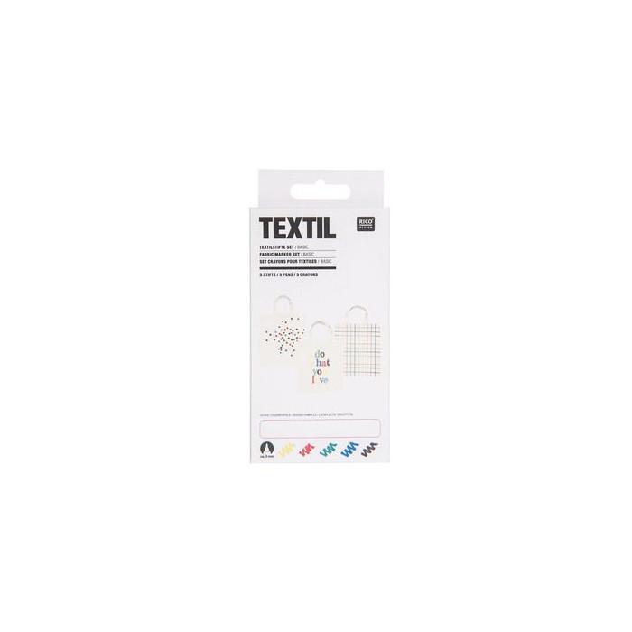 Set 5 feutres pour textiles - fluo