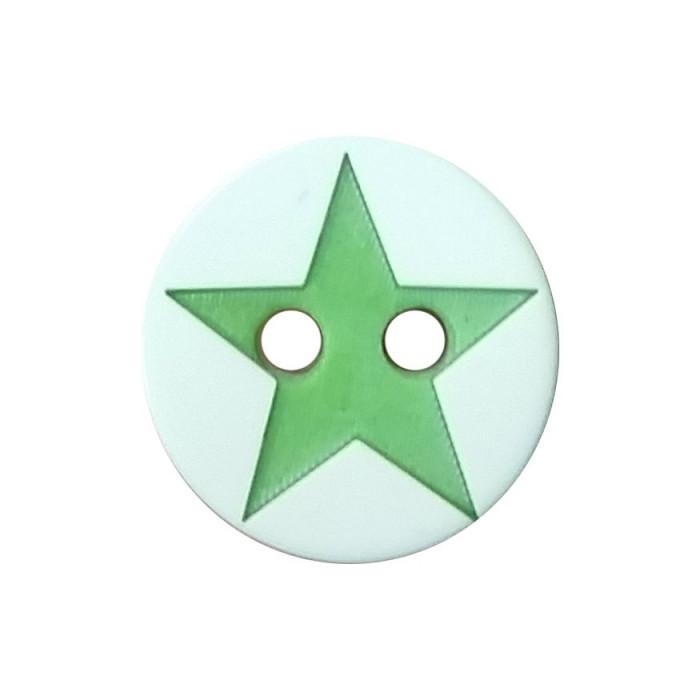 Bouton 2 trous en résine étoile 12mm