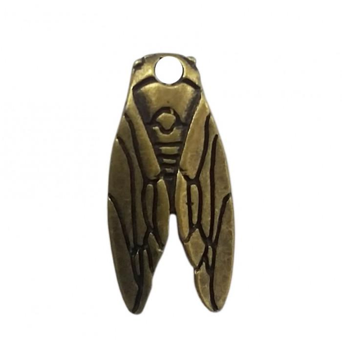 Pendentif cigale en métal 29mm bronze x1