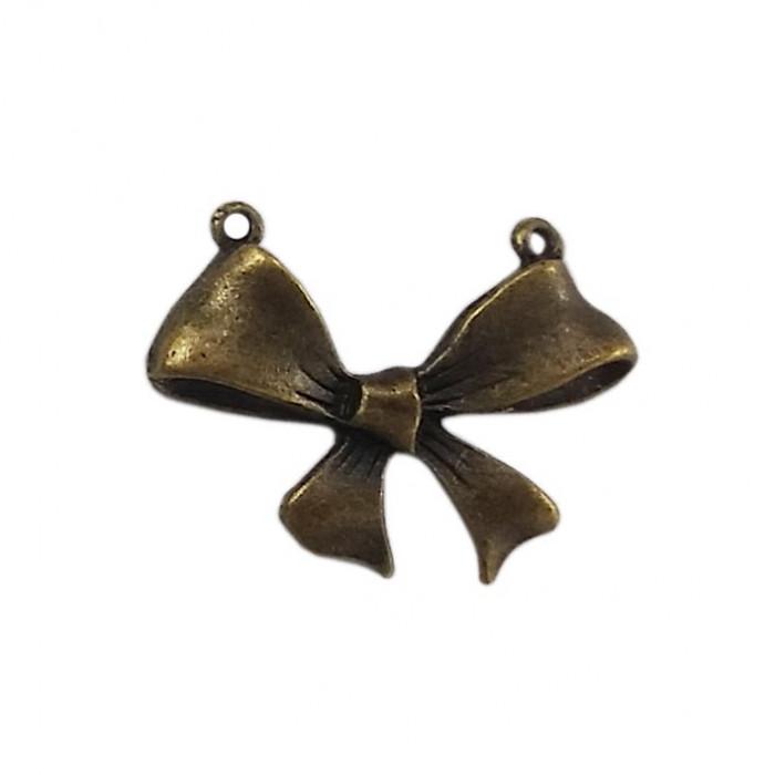 Pendentif noeud 2 trous en métal 30mm bronze x1