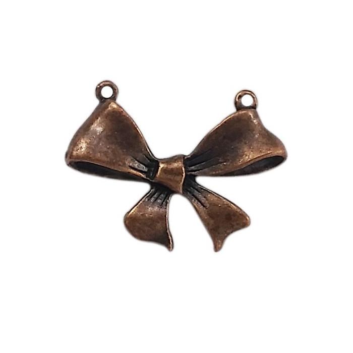 Pendentif noeud 2 trous en métal 30mm cuivre x1