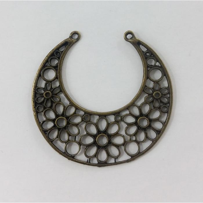 Pendentif rond en métal motif fleurs 48mm bronze x1