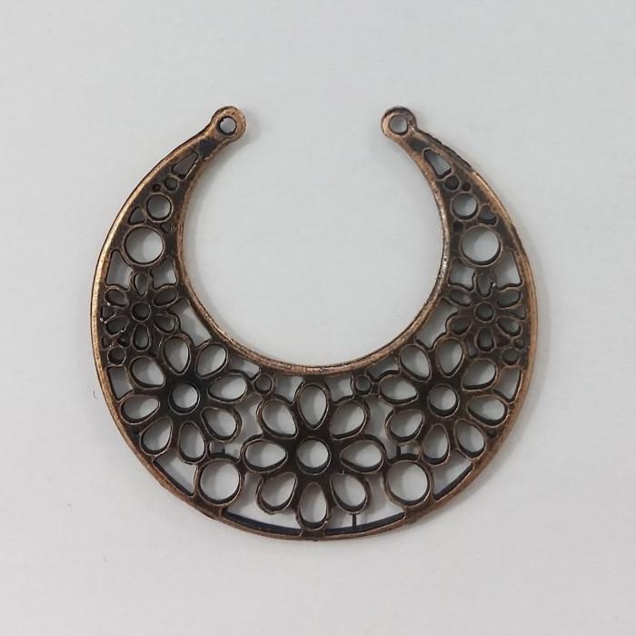 Pendentif rond en métal motif fleurs 48mm cuivre x1