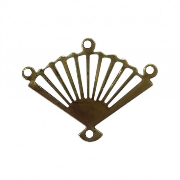 Pendentif éventail 4 accroches 18mm bronze x1