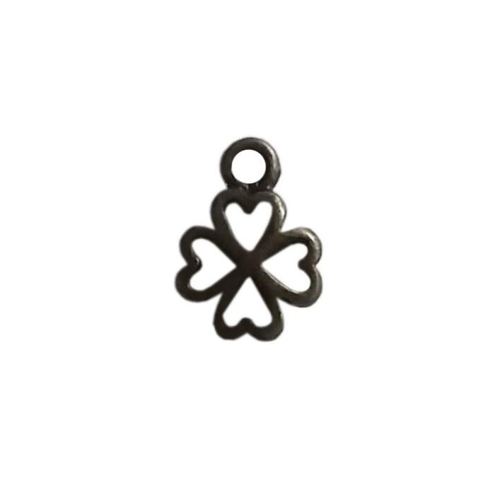 Breloque trèfle à 4 feuilles motif coeur 6mm bronze x5