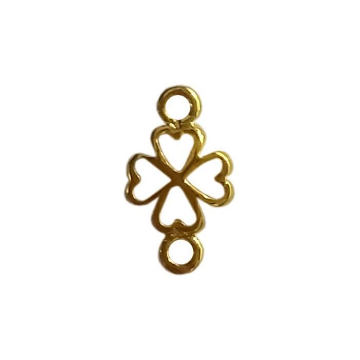 Breloque trèfle à 4 feuilles motif coeur 6mm doré x5