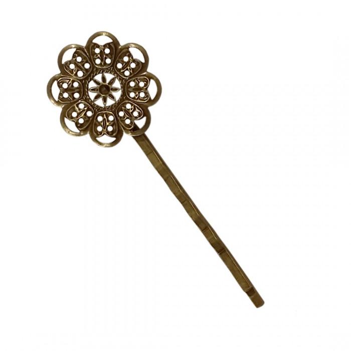 Barrette fleurie 24mm bronze x1