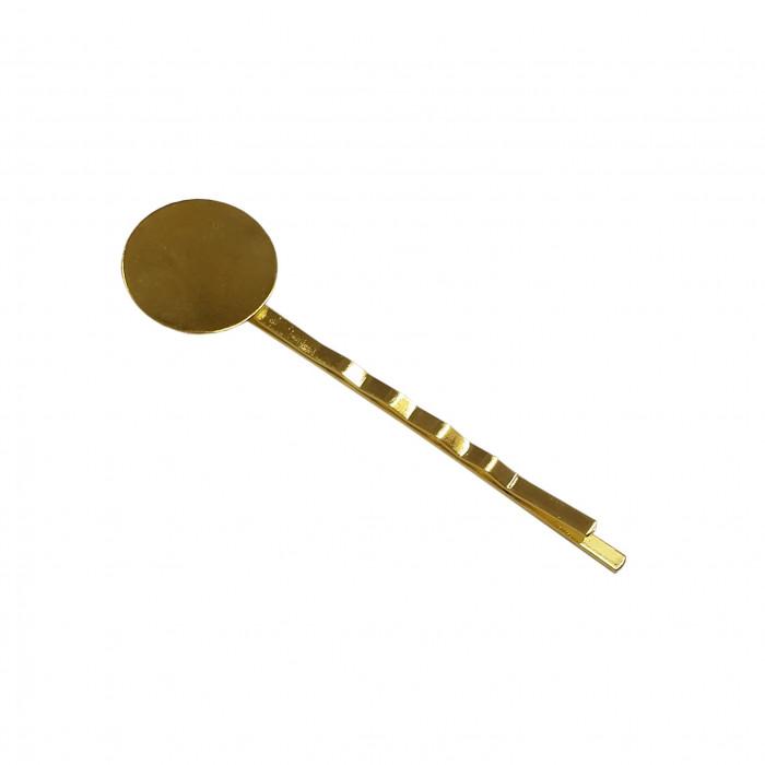 Barrette à plateau 10mm doré x1