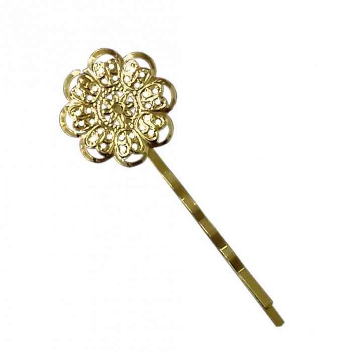 Barrette fleurie 24mm doré x1