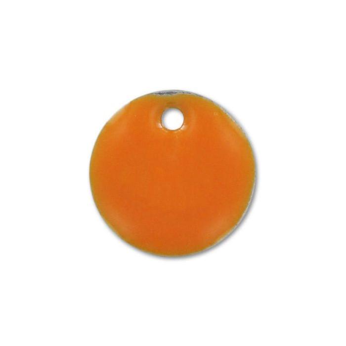 Sequin émaillé rond 8mm orange vif x1