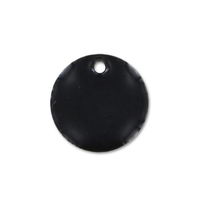 Sequin émaillé rond 8mm noir x1