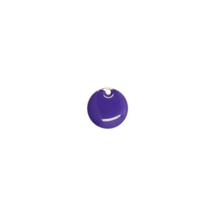 Sequin émaillé rond 10mm violet foncé x1