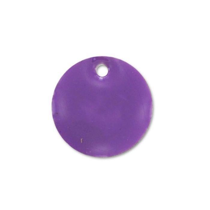 Sequin émaillé rond 10mm violet x1