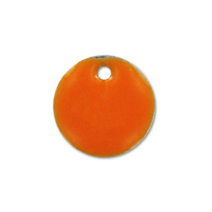 Sequin émaillé rond 10mm orange vif x1