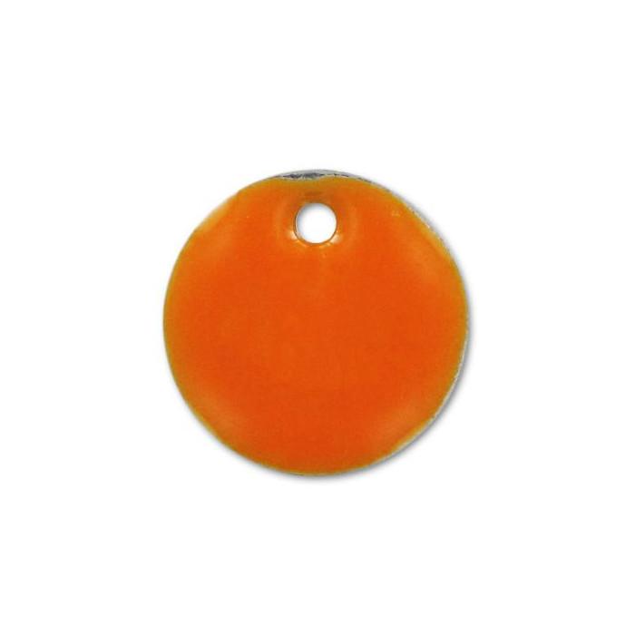 Sequin émaillé rond 12mm orange vif x1