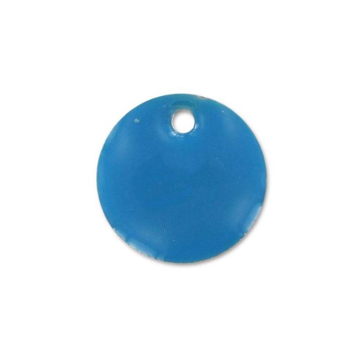 Sequin émaillé rond 12mm bleu x1