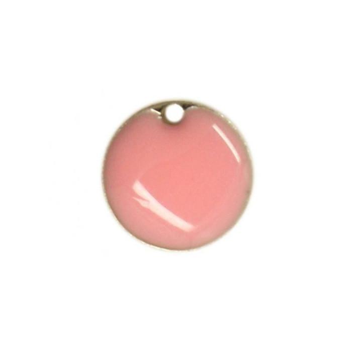 Sequin émaillé rond 12mm rose clair x1