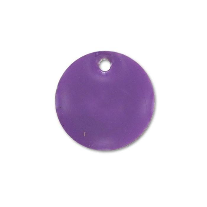 Sequin émaillé rond 15mm violet x1