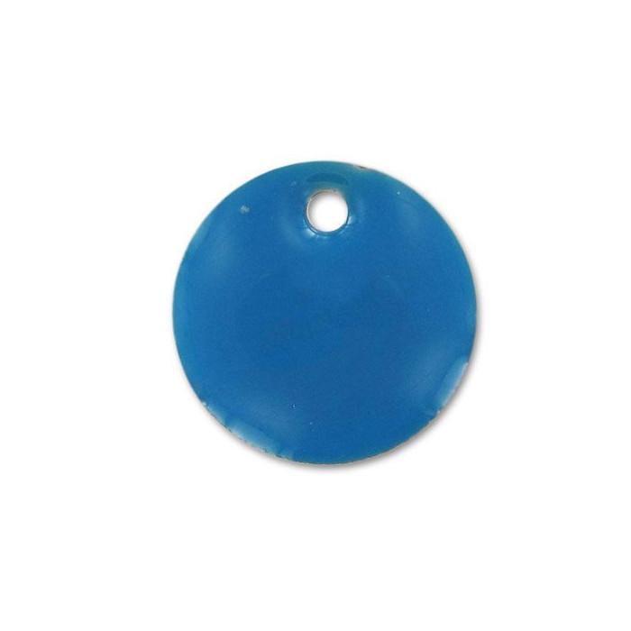 Sequin émaillé rond 15mm bleu x1