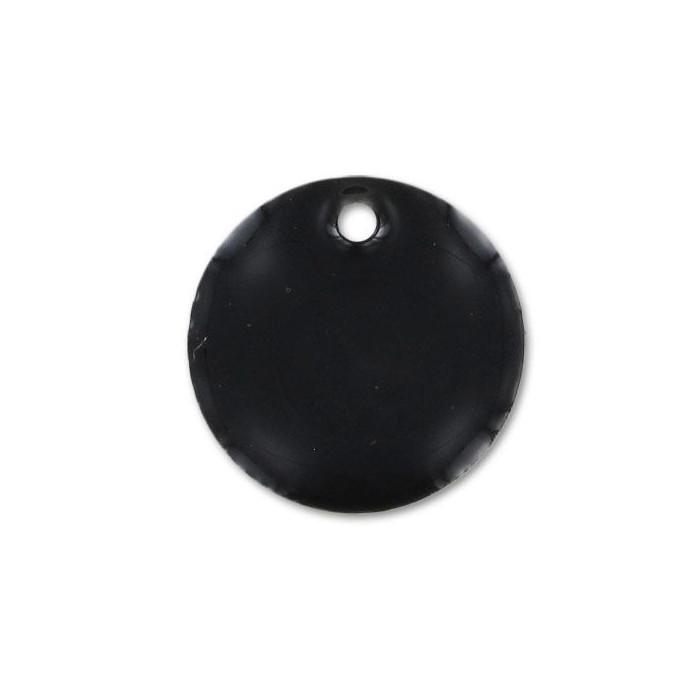 Sequin émaillé rond 15mm noir x1