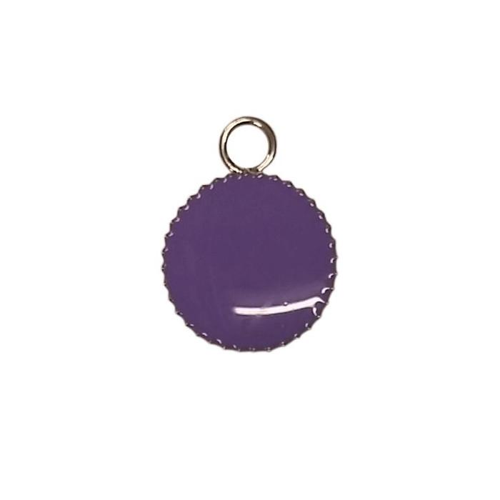 Sequin émaillé rond avec petit rebord 11mm 1 accroche violet x1