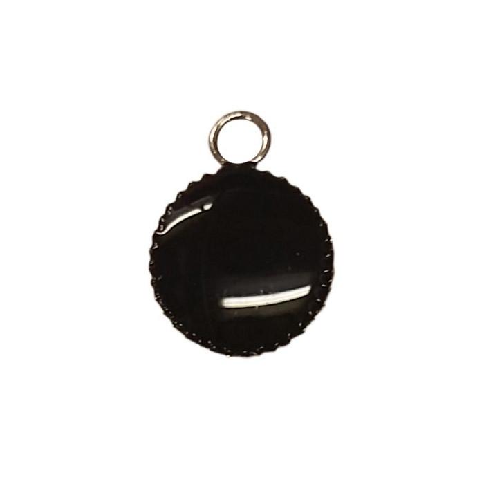 Sequin émaillé rond avec petit rebord 11mm 1 accroche noir x1