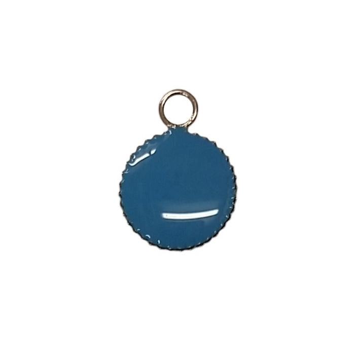 Sequin émaillé rond avec petit rebord 11mm 1 accroche bleu x1