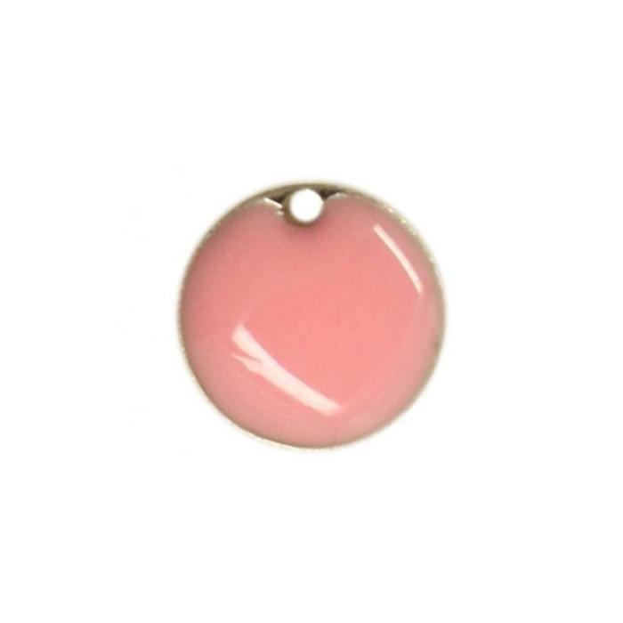 Sequin émaillé rond 15mm rose clair x1