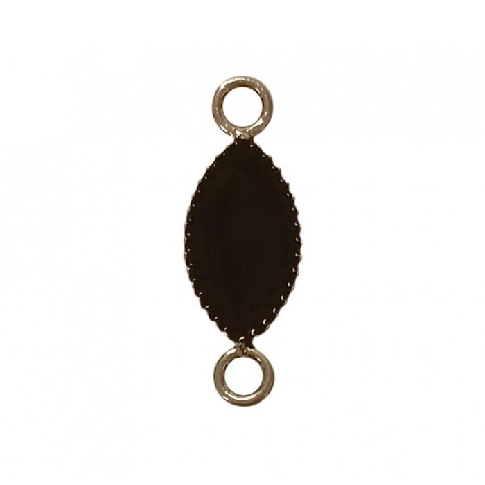Sequin émaillé forme navette 2 accroches noir x1