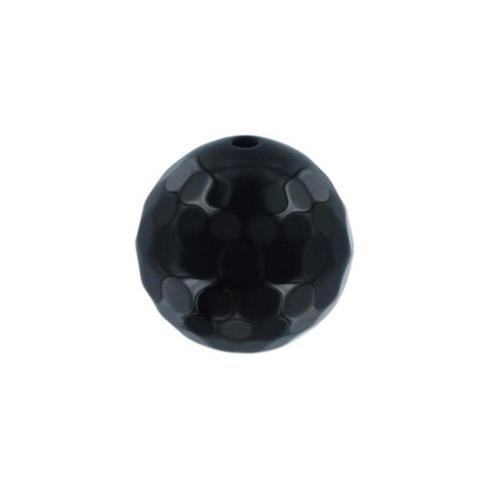 Agate: Ronde facettée 6mm noir x1