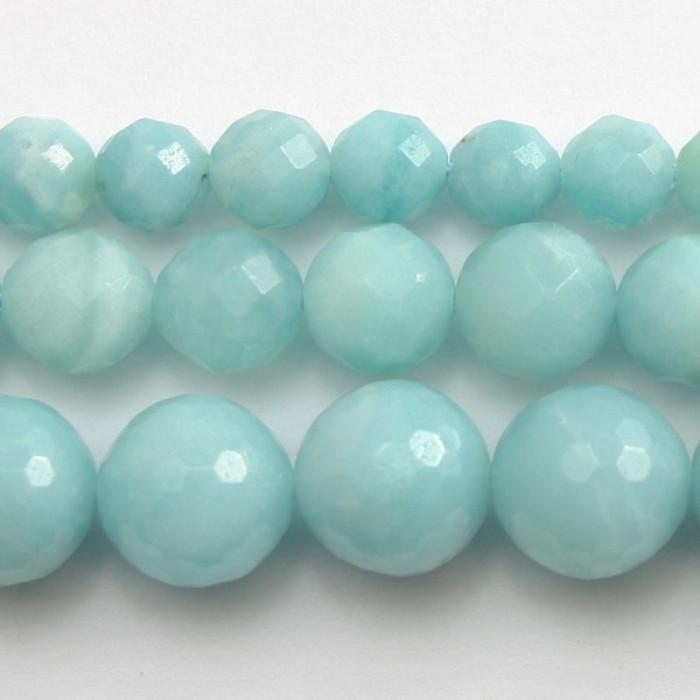 Amazonite : perle ronde facettée 8mm bleu vert naturel x1