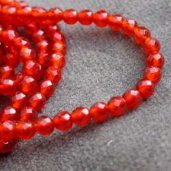 Agate: Ronde facettée 10mm rouge x1
