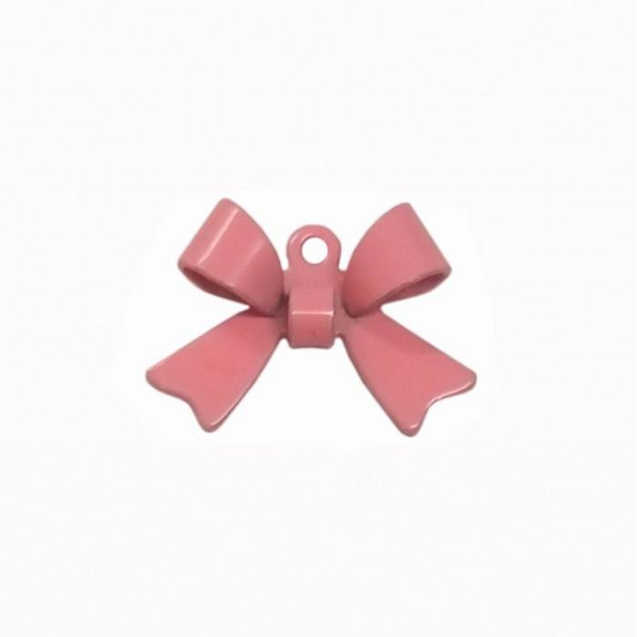Breloque teintée forme noeud rose clair x1