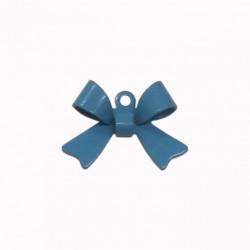 Breloque émaillée forme noeud bleu x1