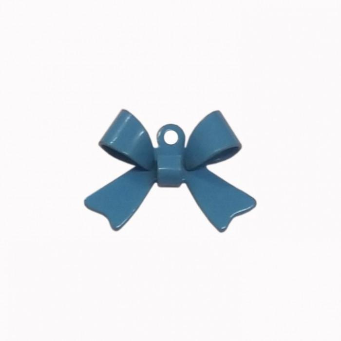 Breloque teintée forme noeud bleu x1