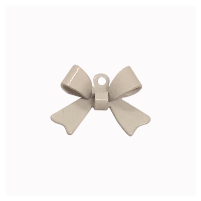 Breloque teintée forme noeud blanc x1