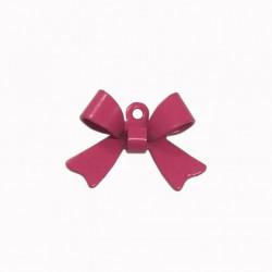Breloque émaillée forme noeud rose x1
