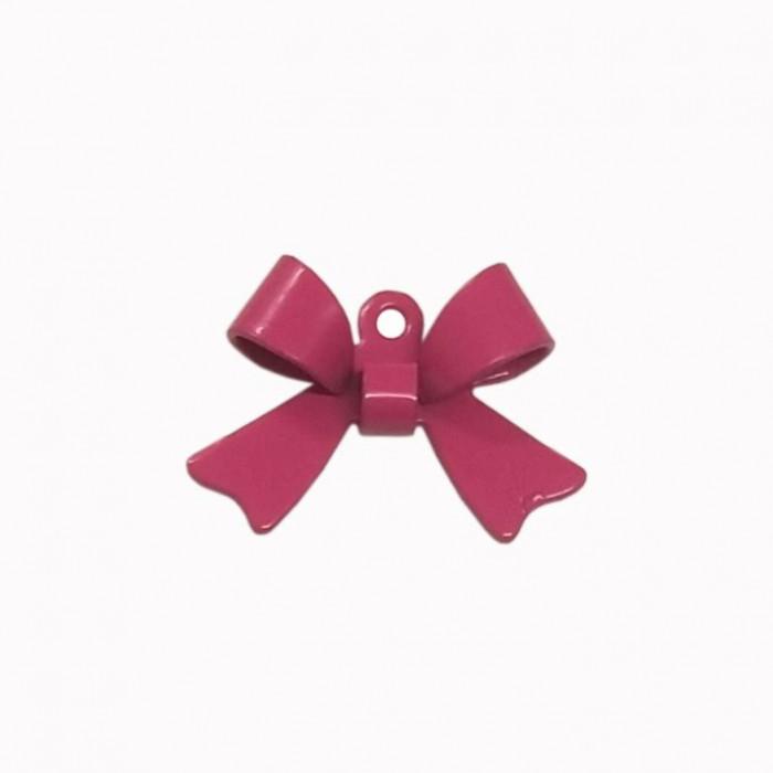 Breloque teintée forme noeud rose x1