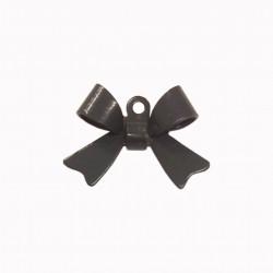 Breloque émaillée forme noeud gris foncé x1