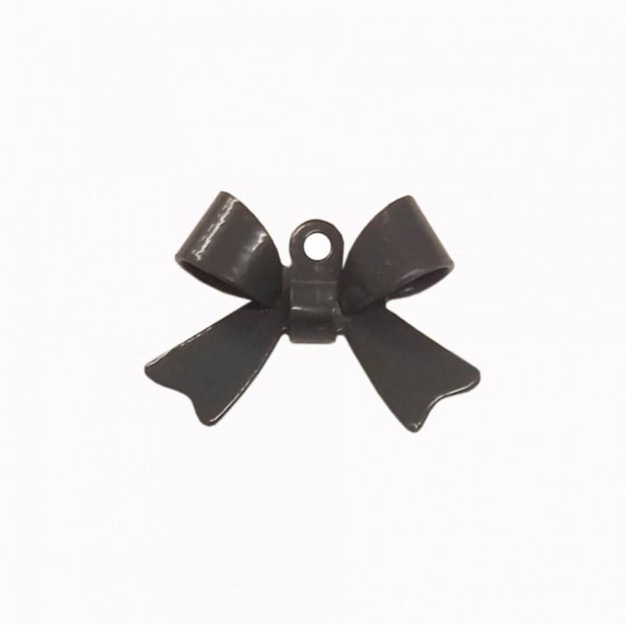Breloque teintée forme noeud gris foncé x1