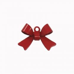 Breloque émaillée forme noeud rouge x1