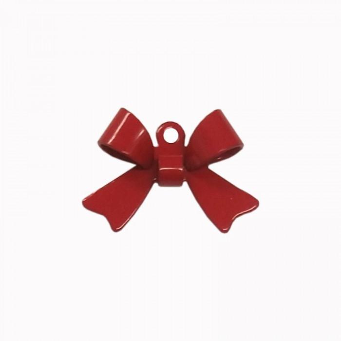 Breloque teintée forme noeud rouge x1