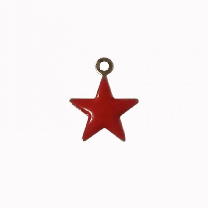 Sequin émaillé forme étoile 11mm 1 accroche rouge x1