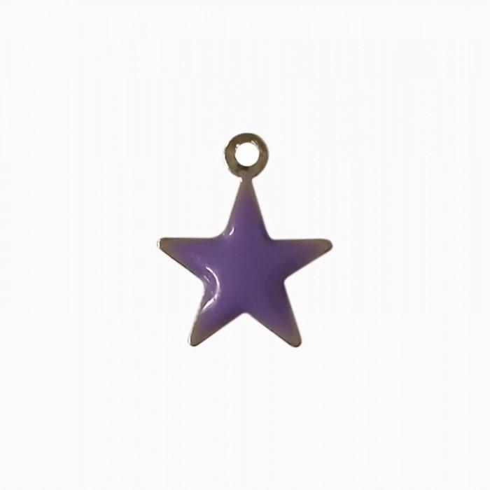Sequin émaillé forme étoile 11mm 1 accroche violet x1
